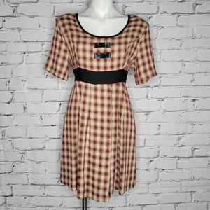 90s Grunge Plaid Babydoll Dress with Bows